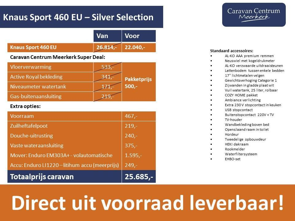 Foto van Knaus Sport Silver Selection 460 EU DIRECT LEVERBAAR + MOVER